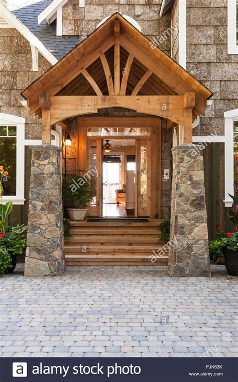 exterior wood and front porch and entryway to