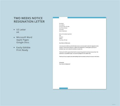 simple  weeks notice letter resignation templates
