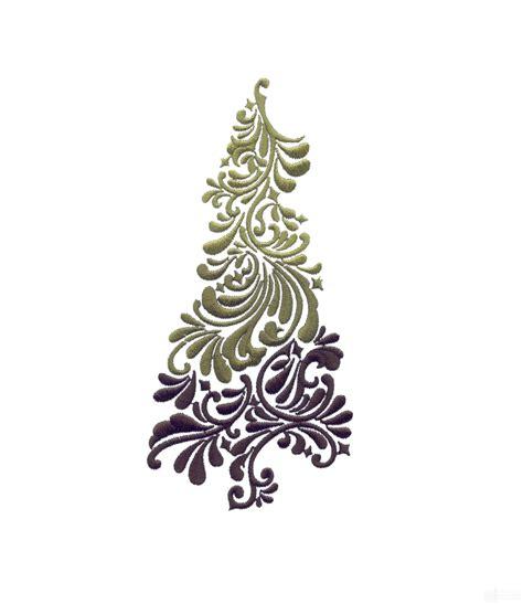 filigree christmas tree embroidery design