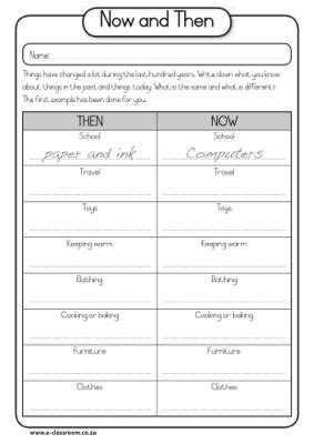 Now And Then Worksheet  Now And Then Grade 3  Pinterest  Classroom, Grade 3 And Social Studies