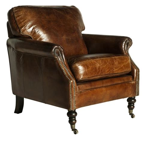 darcy vintage leather club chair  distressed leather