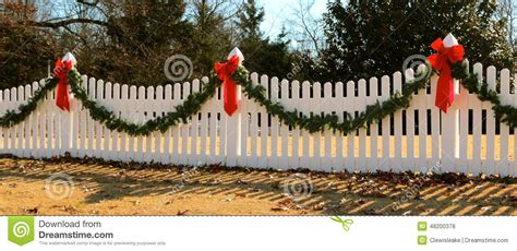 wreath  fence decorated  christmas stock photo