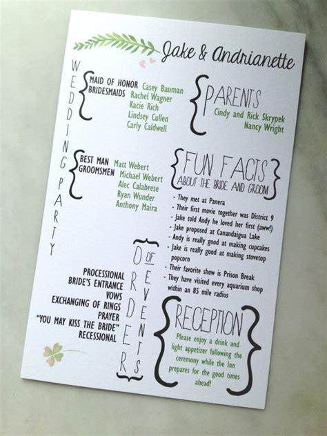 wedding program sle wording ideas creative wedding programs and what to include mywedding
