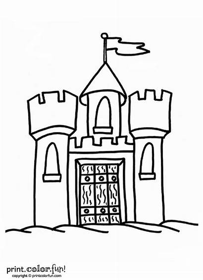 Castle Flag Coloring Printable Pages Drawbridge Simple