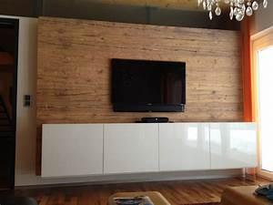 Tv Wand Modern : holz wandverkleidug mit tv und sideboard in altholz nachbildung bs holzdesign ~ Sanjose-hotels-ca.com Haus und Dekorationen