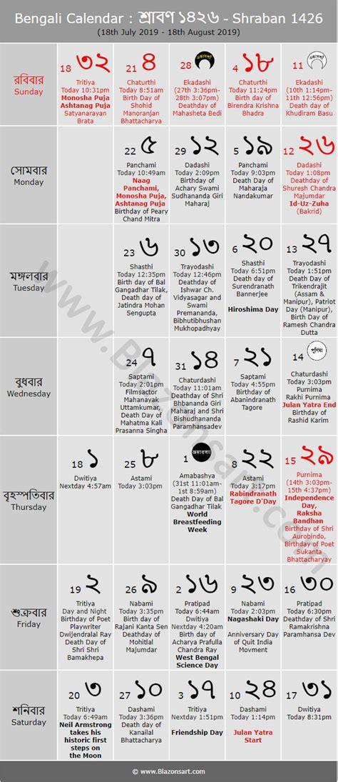 bengali calendar shraban