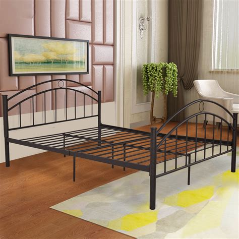 giantex black queen size metal steel bed frame mattress
