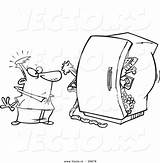 Refrigerator Coloring Cartoon Packed Outline Standing Before Toonaday Leishman Ron sketch template