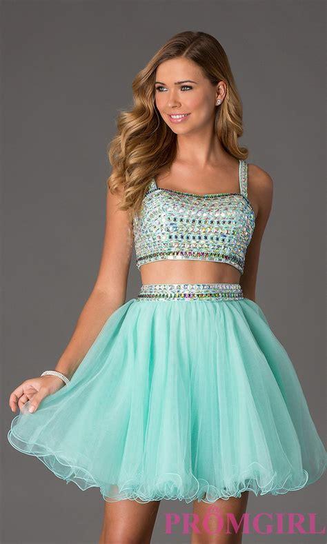 Beaded Two-Piece Short Crop-Top Prom Dress | Crop top ...