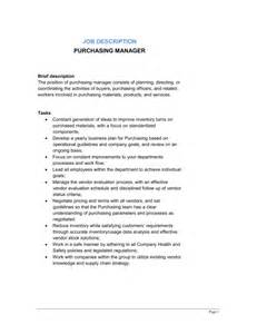 purchasing description duties purchasing manager description template sle form biztree