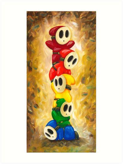Rainbow Of Shy Guys Super Mario Bros Fan Art Art Prints