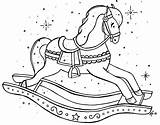 Pages Colouring Coloring Rocking Christmas Horse Embroidery Patterns Sheets Printable Horses Dragon sketch template