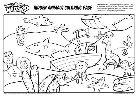 Hidden Animals Coloring Page