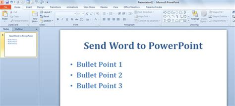 word powerpoint online send word to powerpoint