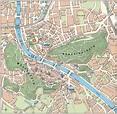 Large tourist map of Salzburg city center | Salzburg ...