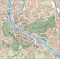 Large tourist map of Salzburg city center | Salzburg ...