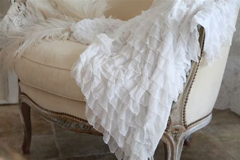 soft white ruffle throw shabby chic cottage bed throws