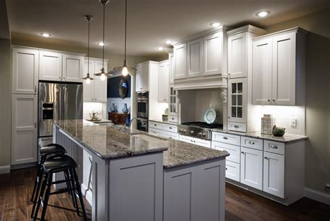 White Wooden Kitchen Island With Gray Marble Counter Top