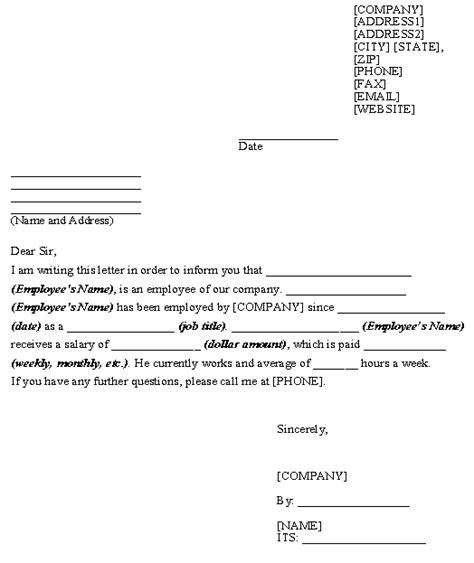 letter  employment verification  landlord