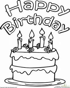 Color The Happy Birthday Cake Worksheet