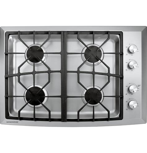 monogram  stainless steel gas cooktop natural gas zgunsmss ge appliances