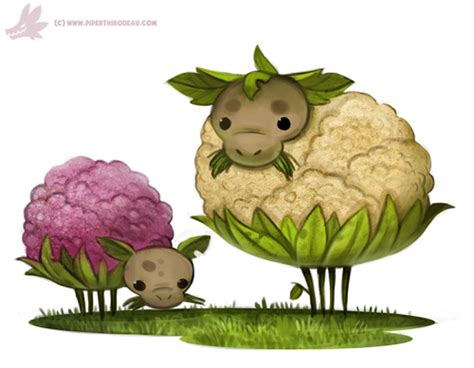 daily paint  cauliflower sheep  cryptid creations