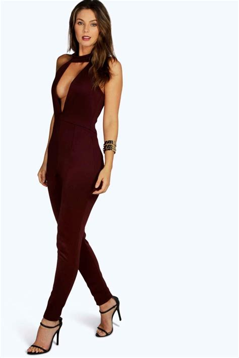 boohoo jumpsuits hollie high neck plunge jumpsuit at boohoo com