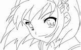 Coloring Anime Sad sketch template