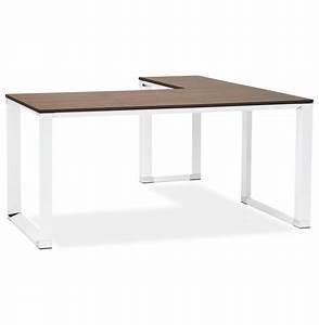 Bureau D Angle Design : bureau d 39 angle design xline en bois finition noyer et m tal blanc ~ Teatrodelosmanantiales.com Idées de Décoration