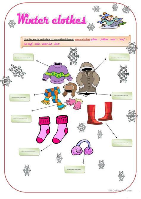 winter clothes worksheet  esl printable worksheets