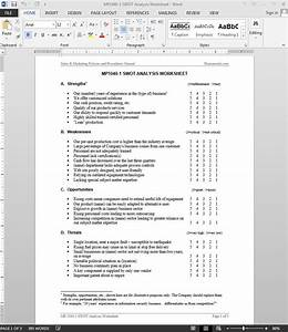 swot analysis worksheet template With swot analysis worksheet template