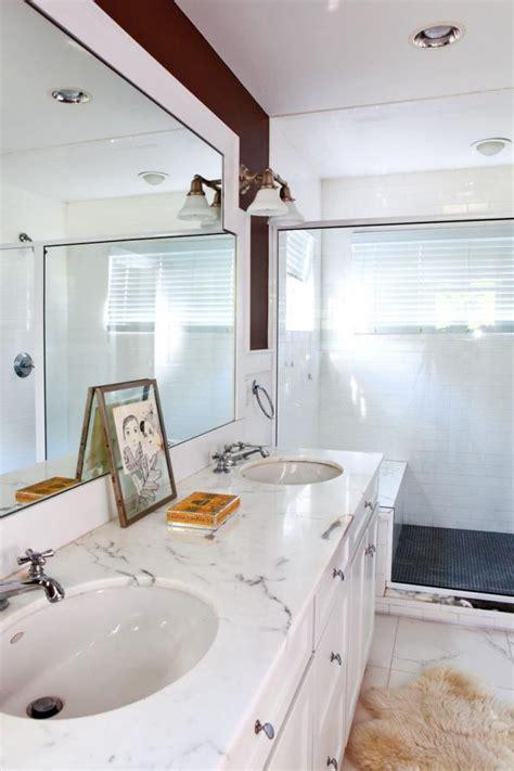 transitional white bathroom  marble vanity hgtv