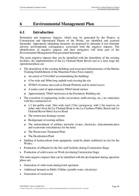 chapter  environmental management plan eia report la