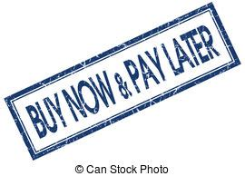 Buy Now Pay Later Blue Square Stamp Isolated On White