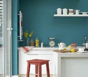 Meuble Bleu Canard : peinture cuisine bleu et meubles blanc cuisine ~ Teatrodelosmanantiales.com Idées de Décoration