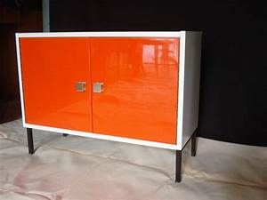 meuble bas orange 70s vendu lu bee With meuble orange