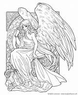 Coloring Wings Adult Fantasy Myths Legends Adults Muse Meadowhaven Wolf Going During Complicated Justcolor sketch template