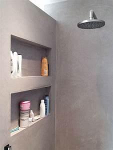 Etagere Dans La Douche : tadelakt in de badkamer wooninspiratie ~ Edinachiropracticcenter.com Idées de Décoration