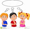 Cartoon Kids Thinking With White Bubble Stock Vector ...