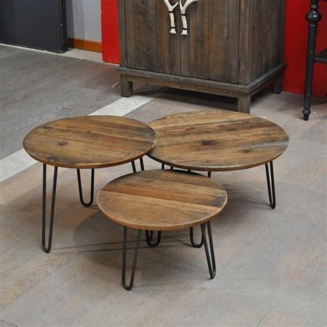 plateau de table de cuisine set 3 tables gigognes industriel en chêne et pied métal