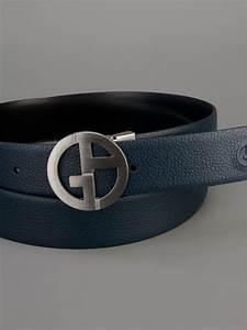 Giorgio Armani Logo Buckle Belt in Blue for Men (black) | Lyst