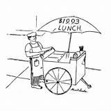 Cartoon Yorker Vendor Umbrella Lunch Giclee Premium Reads sketch template