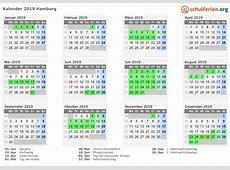 Kalender 2019 + Ferien Hamburg, Feiertage