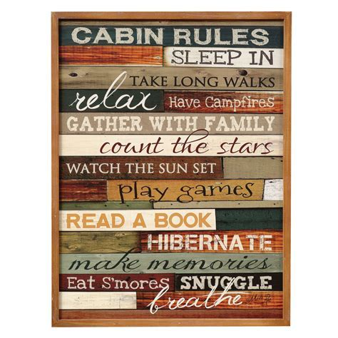 Cabin Rules Wood Sign