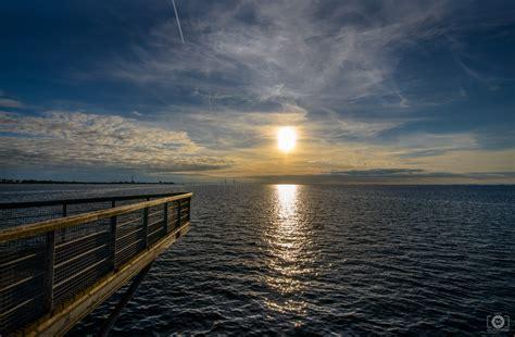 bridge  sea sunset background high quality