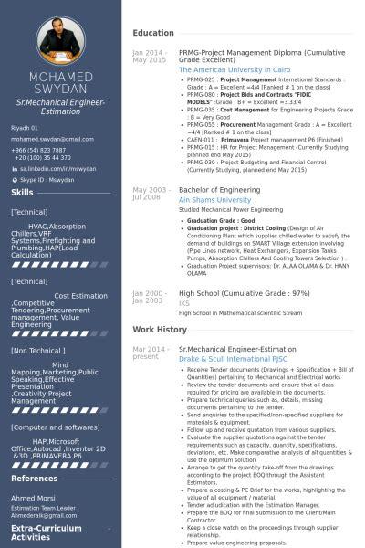sr mechanical engineer estimation resume exle cv