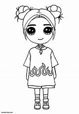 Billie Eilish Coloring Wonder Glasses Buns sketch template
