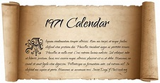 1971 Calendar: What Day Of The Week