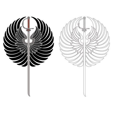 sword  wings stencil design