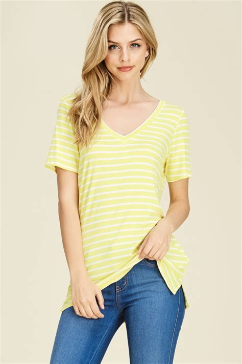Slit Side Knit Top sleeve striped knit top with a v neck featuring side